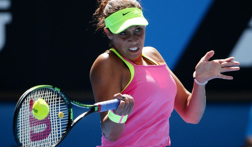 Madison Keys of the U.S. makes a forehand return to compatriot Venus Williams during their quarterfinal match at the Australian Open tennis championship in Melbourne, Australia, Wednesday, Jan. 28, 2015. (AP Photo/Rob Griffith)