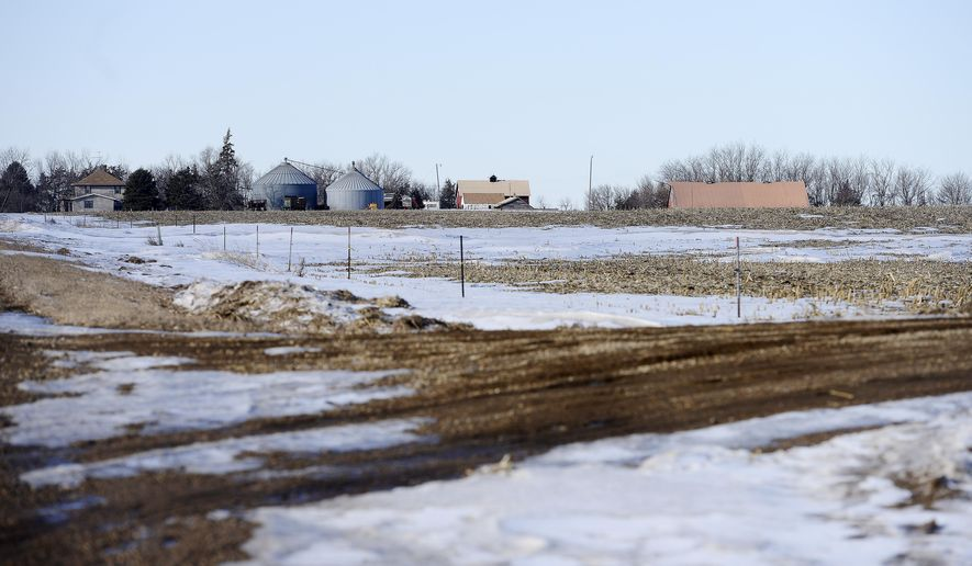 A Jan 23, 2015 photo shows the site of a proposed Sonstegard Foods chicken farm on the corner of  274th Street and 451st Avenue near Parker in Turner County, S.D. (AP Photo/Argus Leader, Elisha Page)