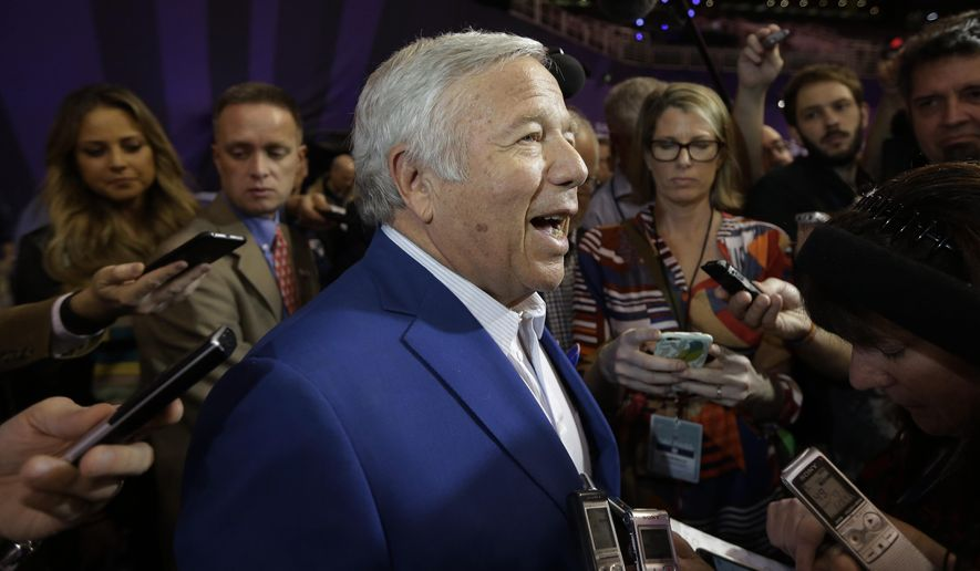New England Patriots owner Robert Kraft answers questions during media day for NFL Super Bowl XLIX football game Tuesday, Jan. 27, 2015, in Phoenix. (AP Photo/David J. Phillip)
