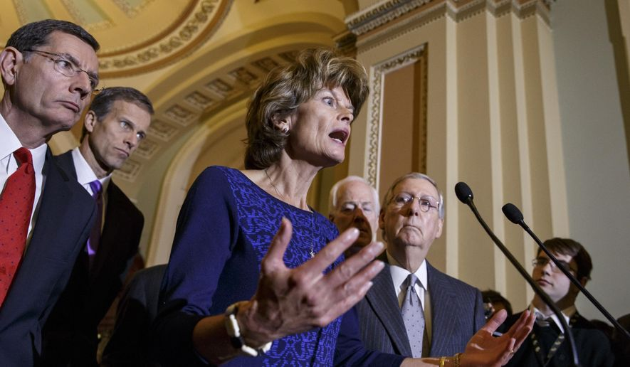 Senate Energy and Natural Resources Committee Chair Sen. Lisa Murkowski, R-Alaska, voices her opposition after President Barack Obama waded into a decades-long fight over drilling in Alaska's Arctic National Wildlife Refuge, announcing that his administration would pursue a wilderness designation for 12.28 million acres, barring drilling in most of the refuge, Tuesday, Jan. 27, 2015, during a news conference on Capitol Hill in Washington. She is joined by the Senate Republican leadership, from left, Sen. John Barrasso, R-Wyo., Sen. John Thune, R-S.D., Senate Majority Whip John Cornyn of Texas, and Senate Majority Leader Mitch McConnell of Ky. (AP Photo/J. Scott Applewhite)
