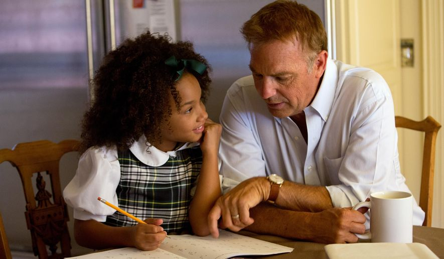 "This photo released by Relativity Media shows Jillian Estell, left, and Kevin Costner, in a scene from Relativity Media's ""Black or White.""  (AP Photo/Relativity Media, Tracy Bennett)"