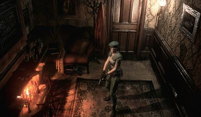 Jill Valentine explores and avoids monsters in the new, remastered version of the video game Resident Evil.