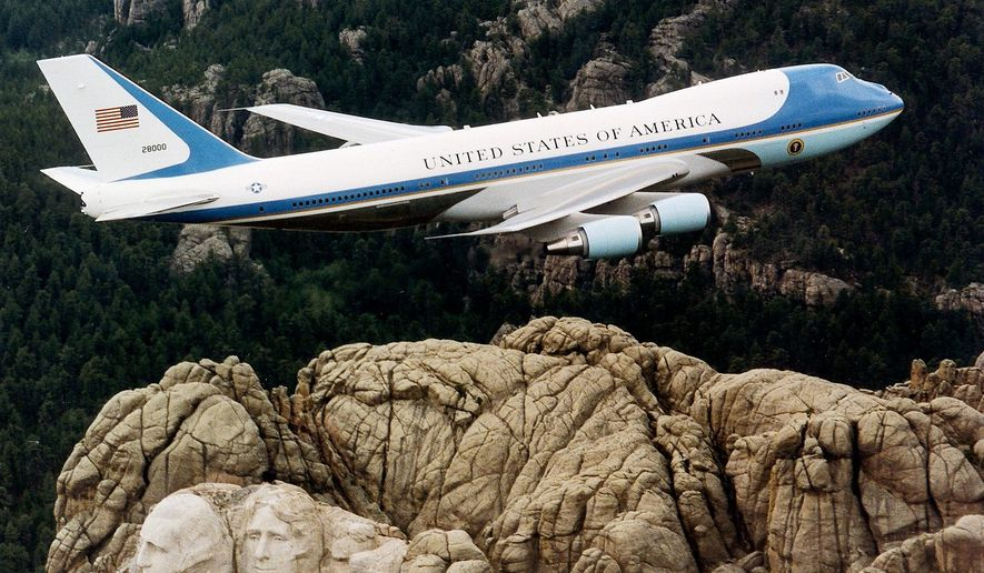 Air Force One over Mount Rushmore. (U.S.  Air Force photo)