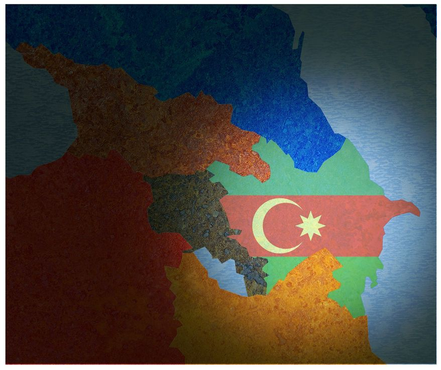 Illustration on the importance of Azerbaijan as a U.S. ally by Alexander Hunter/The Washington Times