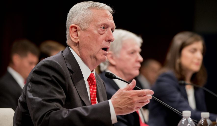 Retired commander of the U.S. Central Command, Gen. James Mattis, speaks before Congress. (Associated Press) ** FILE **
