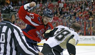Washington Capitals right wing Tom Wilson (43) and Pittsburgh Penguins left wing Zach Sill (38) fight in the first period of an NHL hockey game, Wednesday, Jan. 28, 2015, in Washington. (AP Photo/Alex Brandon)