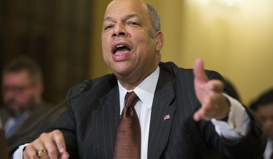 Homeland Security Secretary Jeh Johnson testifies on Capitol Hill in Washington, on the impact of President Barack Obama's executive action on immigration, in this Dec. 2, 2014, file photo. (AP Photo/Evan Vucci, File)