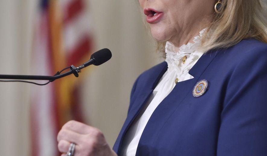 Oklahoma Gov. Mary Fallin speaks during a Legislative forum sponsored by The Associated Press on Wednesday, Jan. 28, 2015, in Oklahoma City. (AP Photo/Shannon Cornman)