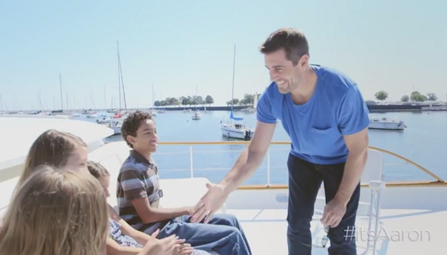 As part of his #itsAaron campaign, Green Bay Packers quarterback Aaron Rodgers surprised a group of children who have lost a parent serving in the U.S. military. (YouTube/itsAaron)