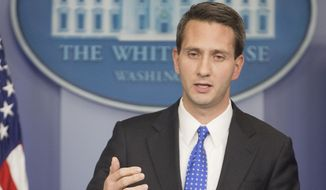 White House deputy press secretary Eric Schultz speaks to the media during the daily briefing in the Brady Press Briefing Room of the White House on Jan. 28, 2015. (Associated Press)