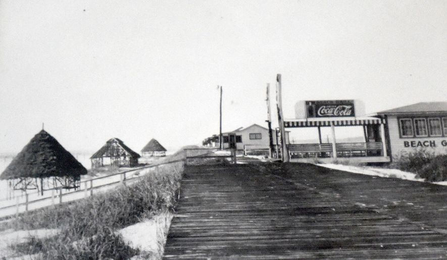 ADVANCE FOR THE WEEKEND OF JAN. 31-FEB. 1 AND THEREAFTER - A photo from the 1950s shows the Tower Beach boardwalk and casino on Okaloosa Island, Florida.  Developed by longtime area resident Thomas Brooks, the boardwalk and casino were among the islands first attractions that would later include a large amusment park. Two new projects currently underway on that property will return Okaloosa Island to its amusement park roots by bringing in zip lines, miniature golf, laser tag and other family-friendly activities. (AP Photo/Northwest Florida Daily News)