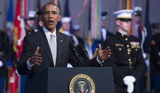 President Barack Obama speaks during a celebration in honor of Secretary of Defense Chuck Hagel, on Wednesday, Jan. 28, 2015, in Fort Myer, Va. Obama, Vice President Joe Biden and top military brass praised Hagel at a farewell ceremony at Joint Base Fort Myer-Henderson Hall. Obama said the country is grateful for military progress on Hagel's watch.(AP Photo/Evan Vucci)  **FILE**