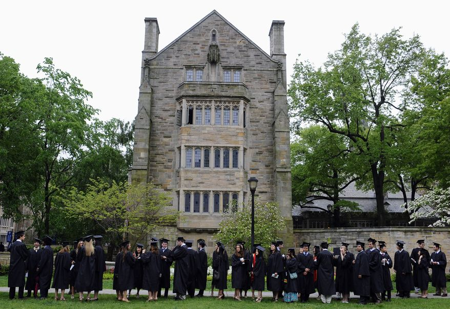 CONNECTICUT $678K -Future graduates line up for commencement on campus of Yale University in New Haven, Conn., Monday, May 20, 2013. (AP Photo/Jessica Hill)