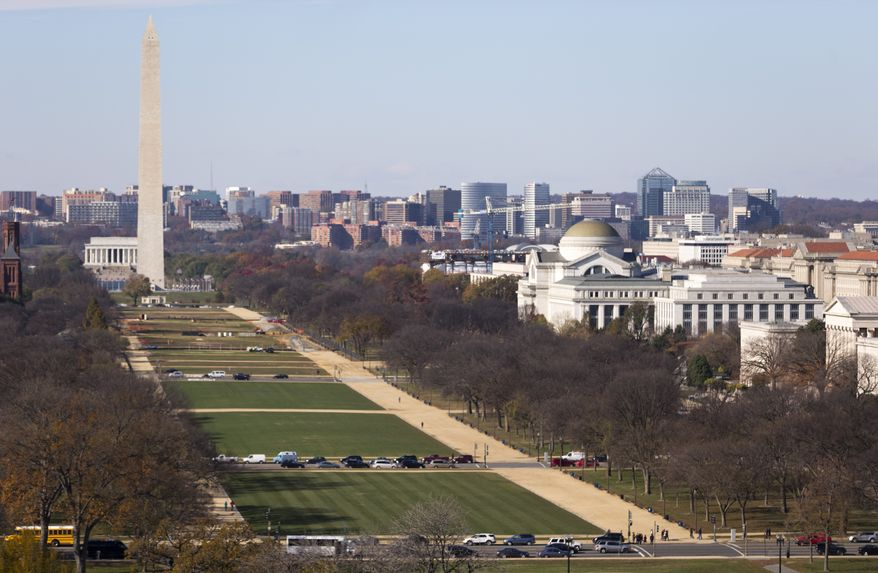 The National Mall with the Lincoln Memorial, and Washington Monument are seen from the roof of the U.S. Capitol Building in Washington in this Tuesday, Nov. 18, 2014, file photo. (AP Photo/Carolyn Kaster)