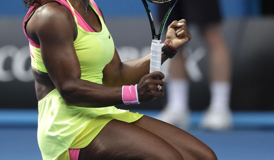 Serena Williams of the U.S. celebrates after defeating her compatriot Madison Keys in their semifinal match at the Australian Open tennis championship in Melbourne, Australia, Thursday, Jan. 29, 2015. (AP Photo/Bernat Armangue)