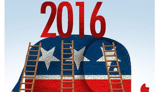 Illustration on contenders for the GOP nomination for president by Alexander Hunter/The Washington Times