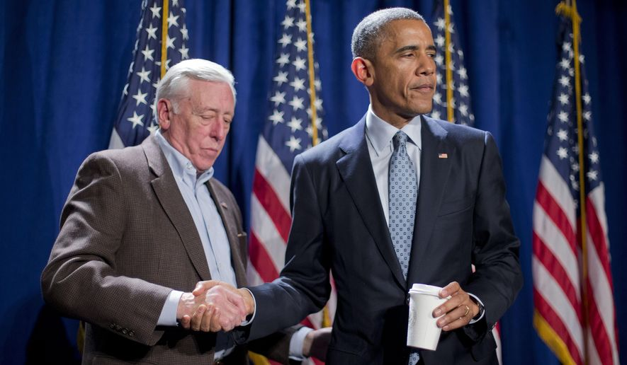 President Barack Obama shakes hands with House Minority Whip Steny Hoyer, D-Md., after making opening remarks at the House Democratic Issues Conference in Philadelphia, Thursday, Jan. 29, 2015. (AP Photo/Pablo Martinez Monsivais)
