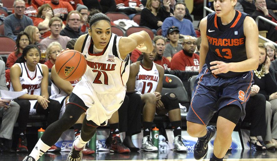 Louisville's Bria Smith, left, drives around the defense of Syracuse' Brianna Butler during the second half of their NCAA college basketball game, Thursday, Jan. 29, 2015 in Louisville, Ky. Louisville won 78-58. (AP Photo/Timothy D. Easley)