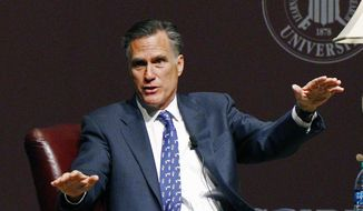 Former GOP presidential candidate Mitt Romney speaks at Mississippi State University in Starkville, Miss., in this Jan. 28, 2015, file photo. (AP Photo/Rogelio V. Solis) ** FILE **