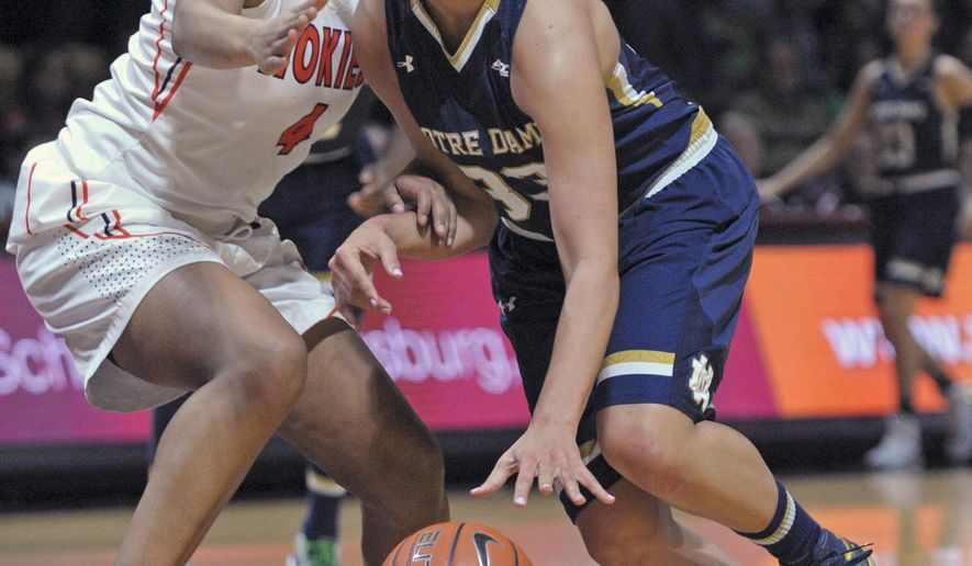 Notre Dame's Kathryn Westbeld (33) drives against Virginia Tech's  Hannah Young during the first half of an NCAA college basketball game Thursday, Jan. 29, 2015, in Blacksburg, Va. (AP Photo/Don Petersen)