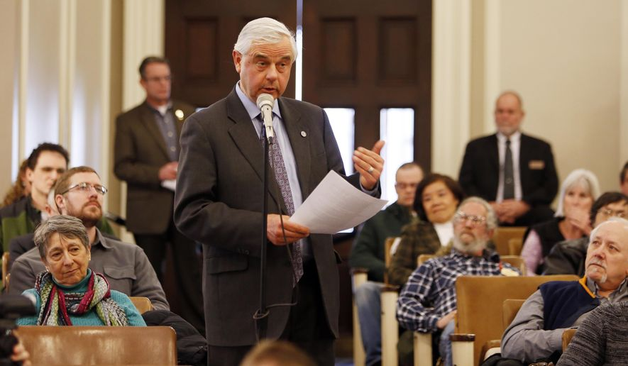 State Sen. Jeb Bradley, R-Wolfboro speaks in favor of a bill during a public hearing on a bill that would allow anyone to carry a concealed weapon without a license on Thursday, Jan. 29, 2015 at the Statehouse in Concord, N.H.,. (AP Photo/Jim Cole)