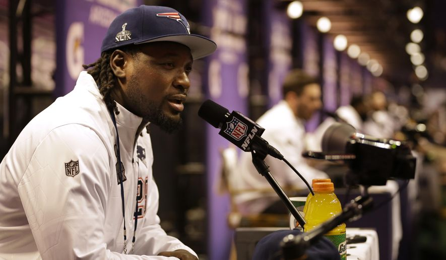 New England Patriots' LeGarrette Blount answers questions during media day for NFL Super Bowl XLIX football game Tuesday, Jan. 27, 2015, in Phoenix. (AP Photo/David J. Phillip)