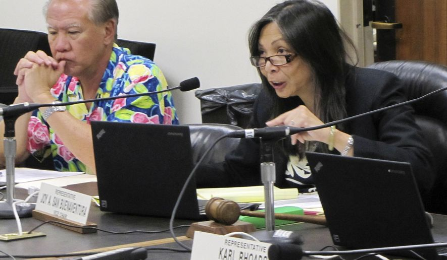 Rep. Joy San Buenaventura, a Democrat from Puna, talks about a bill she introduced that would require performance evaluations for the state's chief elections officer at the Hawaii Legislature, Friday, Jan. 30, 2015, in Honolulu. San Buenaventura says voters in her district on Hawaii's Big Island were denied their right to vote due to problems with the election. (AP Photo/By Cathy Bussewitz)
