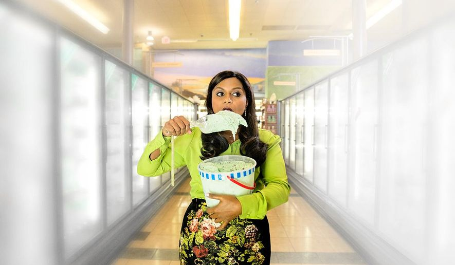 This image provided by Nationwide shows a portion of the company's television ad featuring Mindy Kaling scheduled to run during Super Bowl XLIX on Sunday, Feb. 1, 2015. (AP Photo/Nationwide)