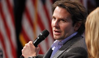 """Actor Bradley Cooper speaks on a panel during the launch event for """"Got Your 6,"""" a multifaceted program that includes encouraging film and television to include characters who are veterans, Friday, Jan. 30, 2015, at the National Geographic Society in Washington. (AP Photo/Jacquelyn Martin)"""