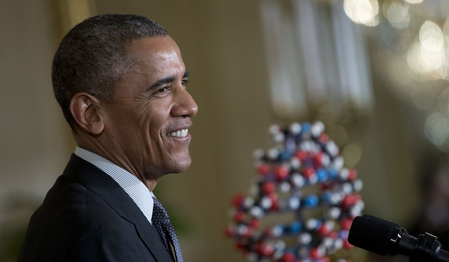 President Barack Obama pauses as he speaks in the East Room of the White House in Washington, Friday, Jan. 30, 2015, calling for an investment to move away from one-size-fits-all-medicine, toward an approach that tailors treatment to your genes.  (AP Photo/Carolyn Kaster) ** FILE **