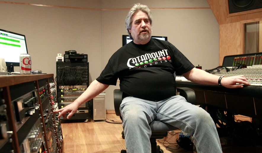 FOR RELEASE SATURDAY, JANUARY 31, 2015, AT 12:01 A.M. CST. - In this photo taken on Friday, Jan. 23, 2015, Catamount producer and chief engineer Tom Tatman explains the engineering side of music at Catamount Recording Studios, in Cedar Falls, Iowa. Catamount has been chosen for the Iowa Rock and Roll Music Association's Hall of Fame. (AP Photo/Waterloo Courier, Tiffany Rushing)