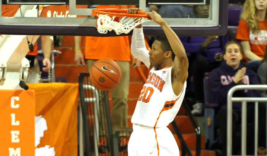 Clemson's Jordan Roper dunks during the first half of an NCAA college basketball game against Boston College at Littlejohn Coliseum, Saturday, Jan. 31, 2015, in Clemson, S.C. (AP Photo/The Independent-Mail, Mark Crammer) THE GREENVILLE NEWS OUT, SENECA NEWS OUT