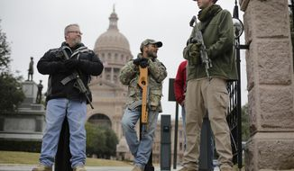In this Jan. 13, 2015 file photo, gun rights advocates carry rifles while protesting outside the Texas Capitol in Austin. (AP Photo/Eric Gay, File)