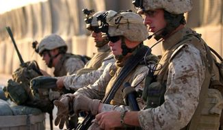 U.S. Marines from 3rd Battalion, 4th Marine Regiment in Husaybah, Iraq, Nov. 3, 2006. (Image: U.S. Marine Corps.) ** FILE **