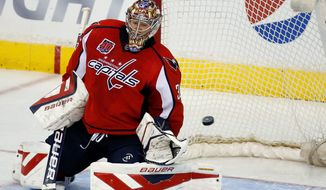 Capitals goalie Justin Peters had 36 saves on Sunday in a 4-3 loss to St. Louis, his first game since Jan. 17 against Dallas. (Associated Press)