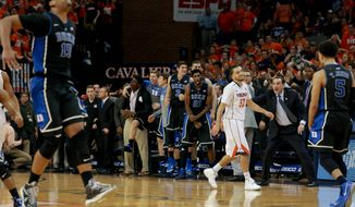 Virginia's London Perrantes said there wasn't much time to worry after losing to Duke on Saturday. (Associated Press)