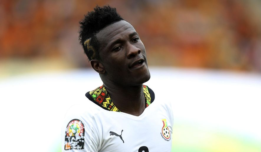 Ghana's Asamoah Gyan is seen during their African Cup of Nations quarter final soccer match  with Guinea at the Estadio De Malabo, Equatorial Guinea, Sunday, Feb. 1, 2015. (AP Photo/Sunday Alamba)