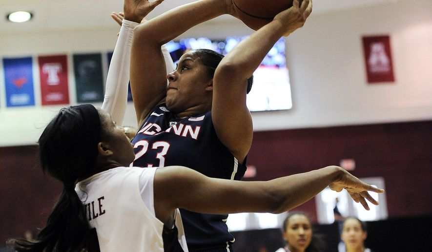Connecticut's Kaleena Mosqueda-Lewis (23) looks for room to shoot over Temple's Erica Covile during the first half of a NCAA college basketball game, Sunday, Feb. 1, 2015, in Philadelphia. (AP Photo/Michael Perez)