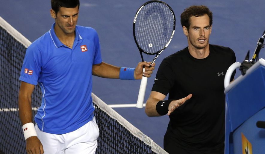 Novak Djokovic of Serbia, left, and Andy Murray of Britain walk to the chair umpire after Djokovic won the men's singles final at the Australian Open tennis championship in Melbourne, Australia, Sunday, Feb. 1, 2015. (AP Photo/Shuji Kajiyama)