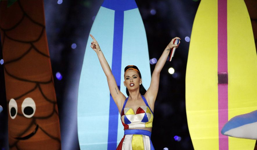 Singer Katy Perry performs during halftime of NFL Super Bowl XLIX football game between the Seattle Seahawks and the New England Patriots Sunday, Feb. 1, 2015, in Glendale, Ariz. (AP Photo/David J. Phillip)