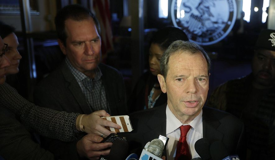 In this Tuesday, Jan. 13, 2015 photo, Illinois Senate President John Cullerton, D-Chicago, speaks with reporters after meeting with Illinois Gov. Bruce Rauner in the Governor's office at the Illinois State Capitol  in Springfield Ill. Lawmakers assembling in Springfield for what promises to be an intense session under a new Republican governor say they are in react mode, waiting for Illinois Gov. Bruce Rauner to lay out his proposed solutions to the state's financial problems before laying out theirs. (AP Photo/Seth Perlman)