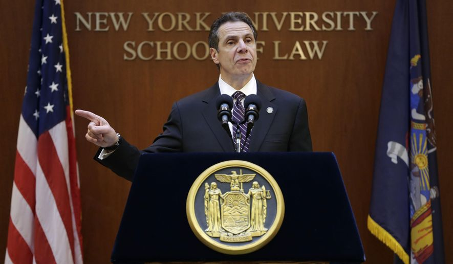 New York Governor Andrew Cuomo speaks at New York University in New York, Monday, Feb. 2, 2015. Cuomo said he won't sign a budget for the state this year that doesn't include an ethics plan for legislators. (AP Photo/Seth Wenig)