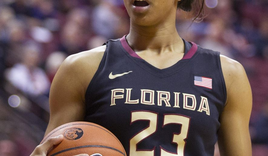 Florida State forward Ivey Slaughter looks at the referee with surprise after a call in the first half of an NCAA college basketball game in Tallahassee, Fla., Tuesday, Feb. 2, 2015. (AP Photo/Mark Wallheiser)