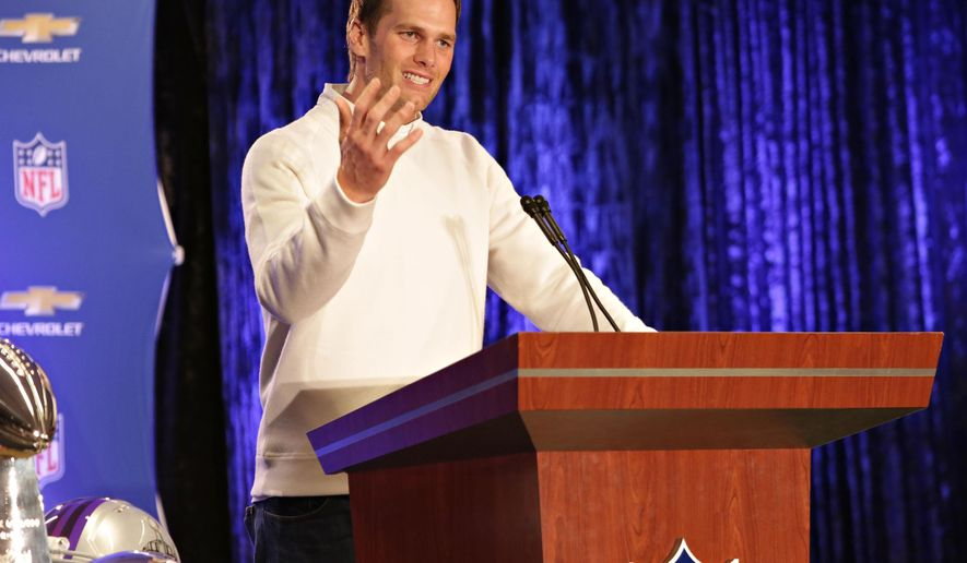 New England Patriots quarterback Tom Brady speaks during a news conference, Monday, Feb. 2, 2015, in Phoenix. Brady was named the MVP of Super Bowl XLIX, where the Patriots beat the Seattle Seahawks 28-24. (AP Photo/The Arizona Republic, John Samora)