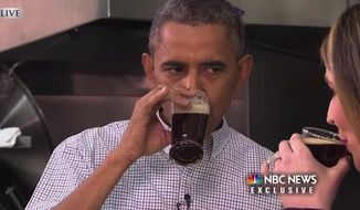 """Twitter was swift to mock President Obama for raising his pinkie while drinking a beer on Monday after he invited NBC's Savannah Guthrie from the """"Today"""" show to the White House to taste some of his home brews. (NBC News)"""