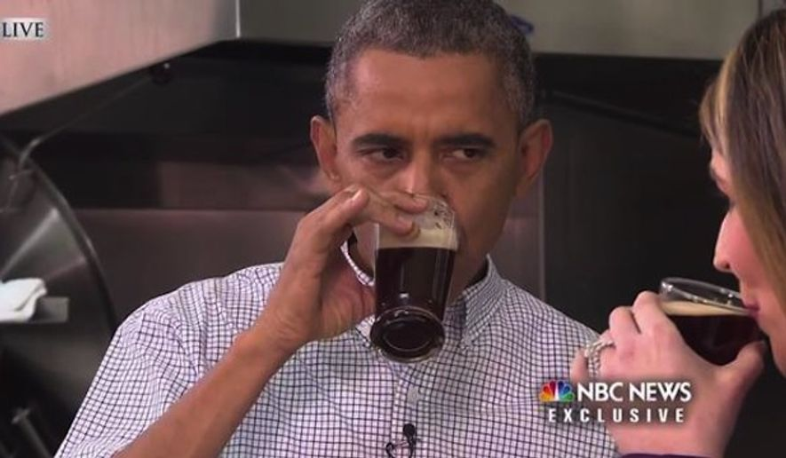 "Twitter was swift to mock President Obama for raising his pinkie while drinking a beer on Monday after he invited NBC's Savannah Guthrie from the ""Today"" show to the White House to taste some of his home brews. (NBC News)"