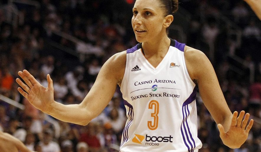 FILE - In this Sept. 7, 2014, file photo, Phoenix Mercury guard Diana Taurasi (3) reacts to a call in the second half of Game 1 of the WNBA basketball finals against the Chicago Sky in Phoenix. Taurasi will sit out the 2015 WNBA season after receiving a lucrative offer from her Russian club team to rest this summer. (AP Photo/Rick Scuteri, File)