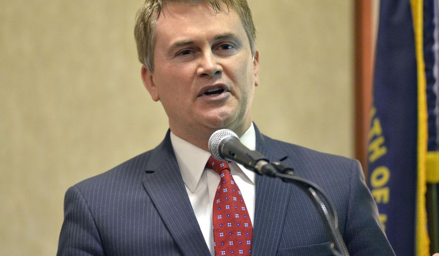 Kentucky republican gubernatorial candidate James Comer speaks before a group at the Kentucky Association of Realtors gubernatorial candidate forum, Tuesday, Feb. 3, 2015 in Lexington, Ky. Kentucky's primary is in May, and the republicans have a crowded slate with 4 candidates. (AP Photo/Timothy D. Easley)