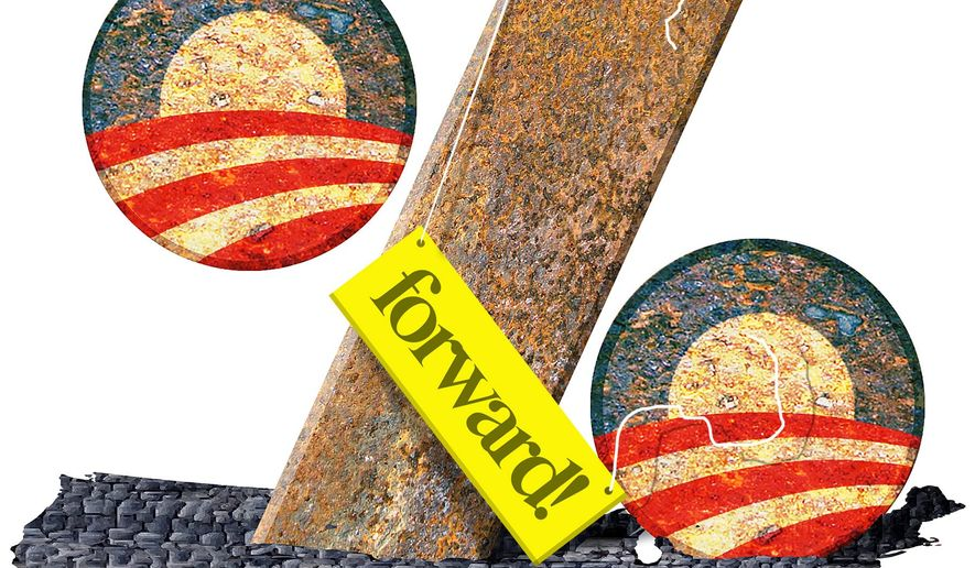 Illustration on Obama's continued tax burden on America by Alexander Hunter/The Washington Times
