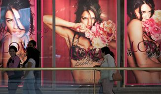 Victoria's Secret's signature pushup bras and frilly panties will remain behind as the company moves into the mainland China market this year. It will instead be pushing its fragrances and beauty products at its first stores. (Associated Press)